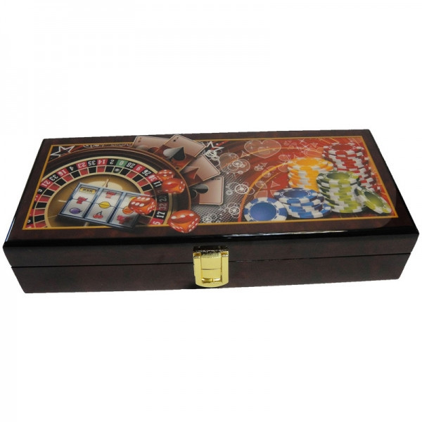 Набор для покера 100 фишек ARMS 2011028, Корпус: Дерево, Покрытие: Глянцевый лак, Кубиков: 5 шт., Фишек: Белых