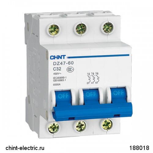 Автоматический выключатель реечный Chint DZ47-60 3P 32А, 230/400 В, Кол-во полюсов: 3, Предел отключения: 4,5
