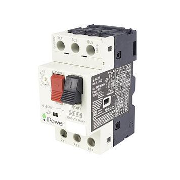 Автомат защиты двигателя реечный iPower GV2-M10 3P 6,3А, 380 В, Кол-во полюсов: 3, Защита: От перегрузок, коро