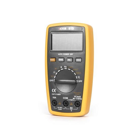 Мультиметр цифровой VICTOR 81D, Измерение: , U+, U~, I+, I~, R, C, t°, T, PN переход, Прозвонка