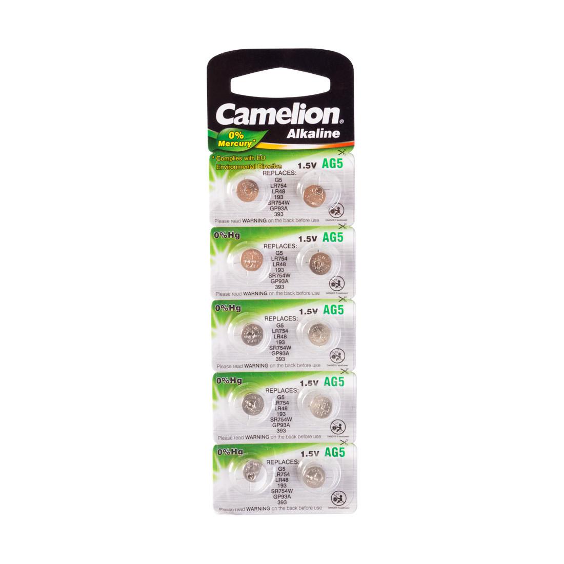 Батарейка Camelion AG5-BP10(0%Hg) 1,5 В, Упакова: Блистер 10 шт., Аналоги: AG3\LR736\LR41, Тип батареи: Щелочн