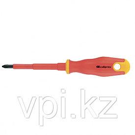 Отвертка диэлектрическая крестовая, CrV, до 1000 В, двухкомпонентная рукоятка, 2*75 мм, Сибртех
