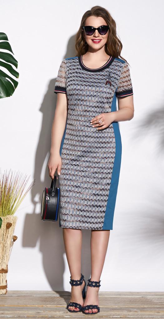 Платье Lissana-3721, серый+темная бирюза, 54