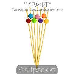 Пика бусинки разноцветные 12 см (100 шт/уп) Бамбук