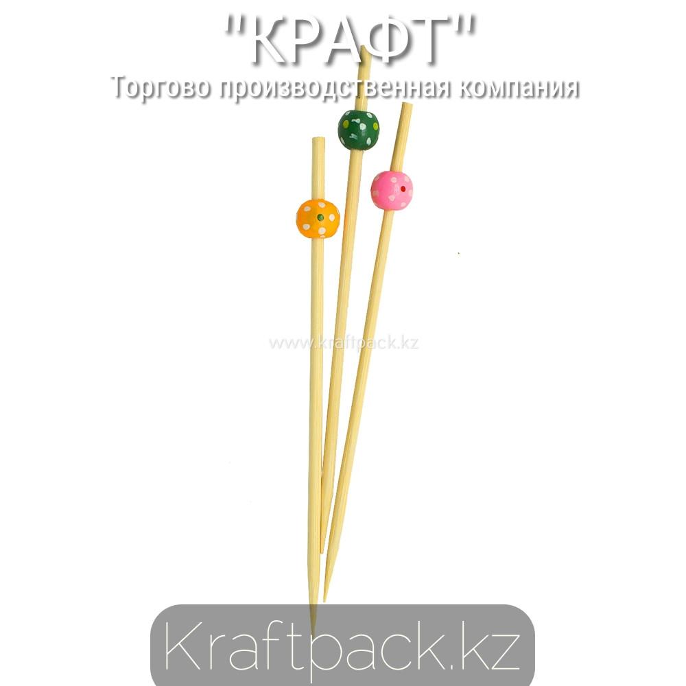 Пика бусинки разноцветные в крапинку 12 см (100 шт/уп) Бамбук