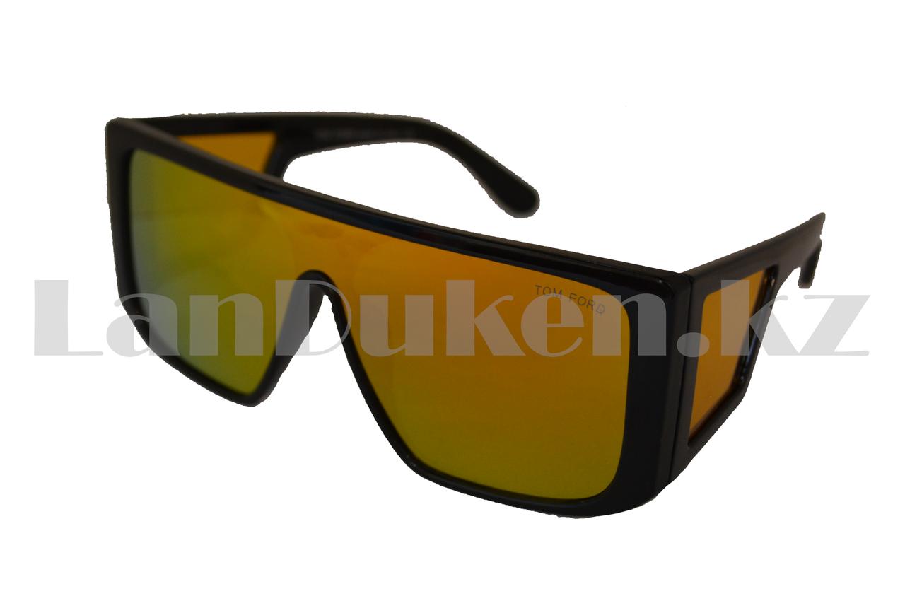 Солнцезащитные очки Ton Ford закрытые по бокам, зеркальные