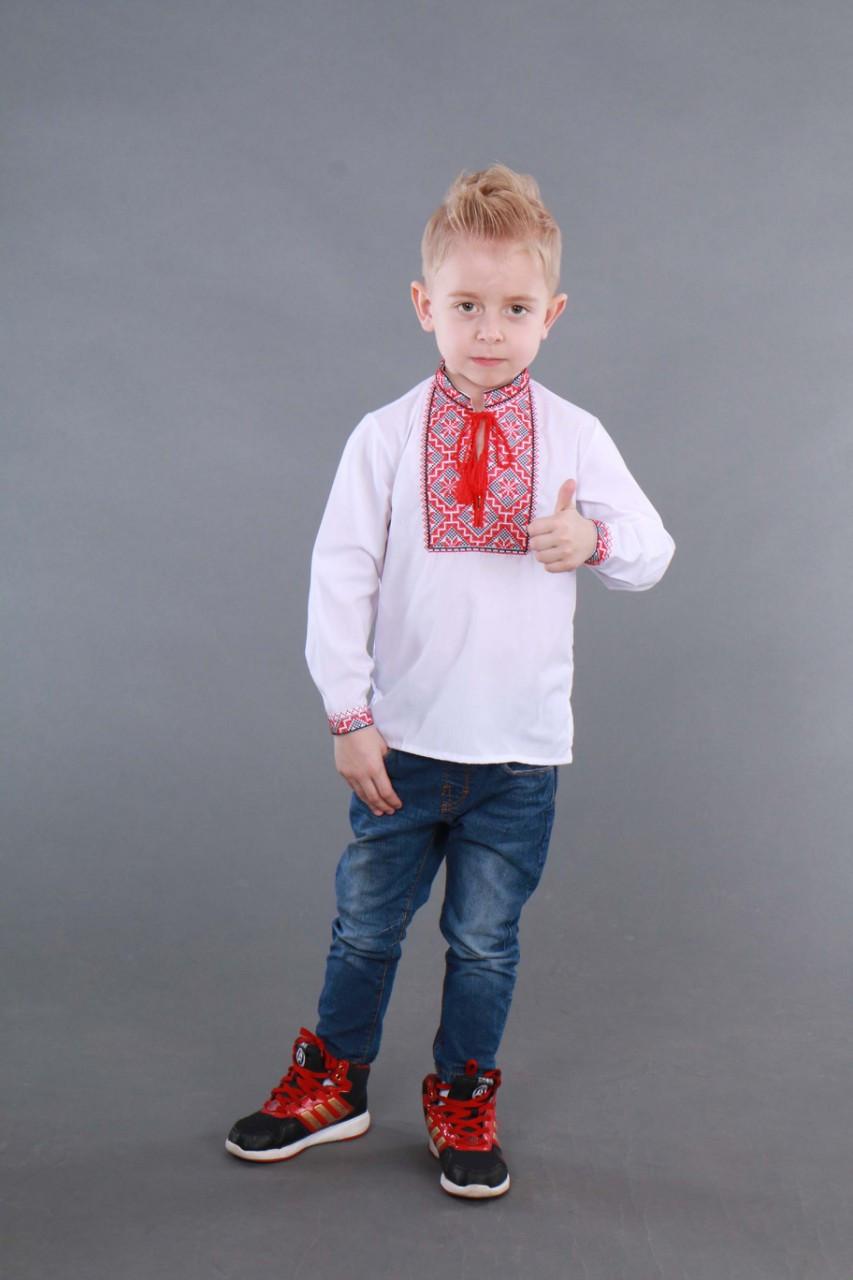 Детская вышиванка на мальчика, красно-черный узор Собственное производство - фото 1