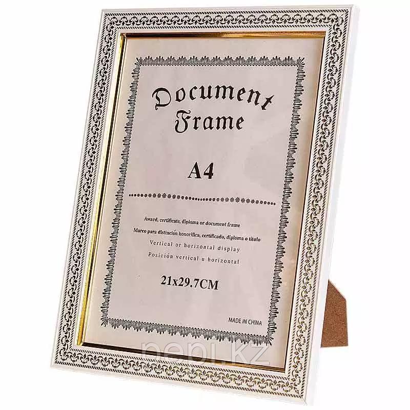 Рамка для сертификата А4, ,белая, золотой орнамент