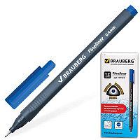 """Ручка капиллярная BRAUBERG """"Carbon"""", металлический наконечник, трехгранная, 0,4 мм, синяя, 141522"""