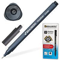 """Ручка капиллярная BRAUBERG """"Carbon"""", металлический наконечник, трехгранная, 0,4 мм, черная, 141523, фото 1"""