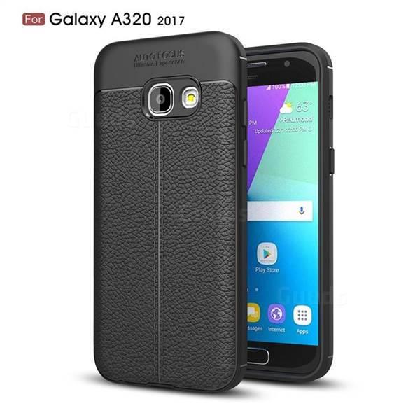 Силиконовый чехол Auto Focus Leather case для Samsung Galaxy A3 A320 2017 (черный)