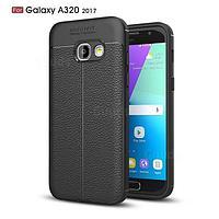 Силиконовый чехол Auto Focus Leather case для Samsung Galaxy A3 A320 2017 (черный), фото 1