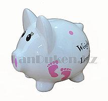 Копилка керамическая свинка с надписью  Weight Length 13см*14см
