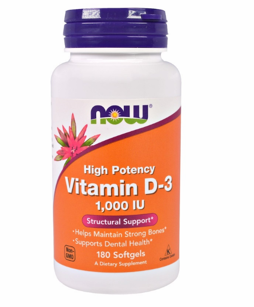 Now Foods, Витамин D-3, 1000 МЕ, 180 мягких таблеток