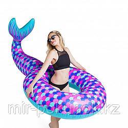 """Надувной круг-плот для плаванья на море, в бассейне """"Хвост Русалки"""" Mermaid Tail 120*180 см, Алматы"""