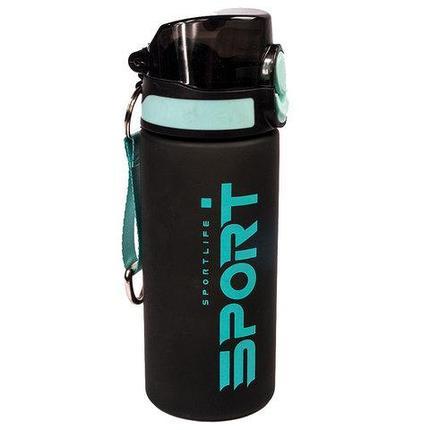 Бутылка для воды спортивная с поилкой SPORTLIFE (Черный с белым), фото 2