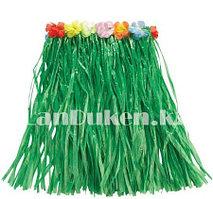Юбка гавайская темно зеленая с цветами 40 см