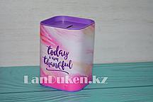 """Копилка жестяная прямоугольная 11,5*8 см, фиолетово-розовый """"Today i am thankful"""""""