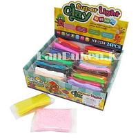 Набор для творчества легкий пластилин Claydoll 24 цвета с запасными пакетиками и ножами, 600 г NT 7224