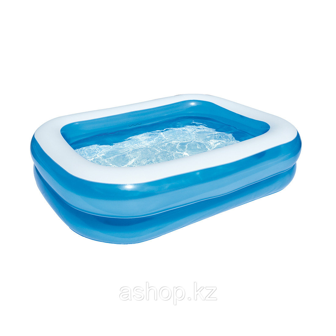 Бассейн надувной Bestway Blue Rectangular, 450 л, Возрост: От 6 лет, Насос: Нет, Лестница: Нет, Поливинилхлори