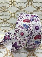Репсовая лента с рис «цветы и бабочки», ширина-4 см