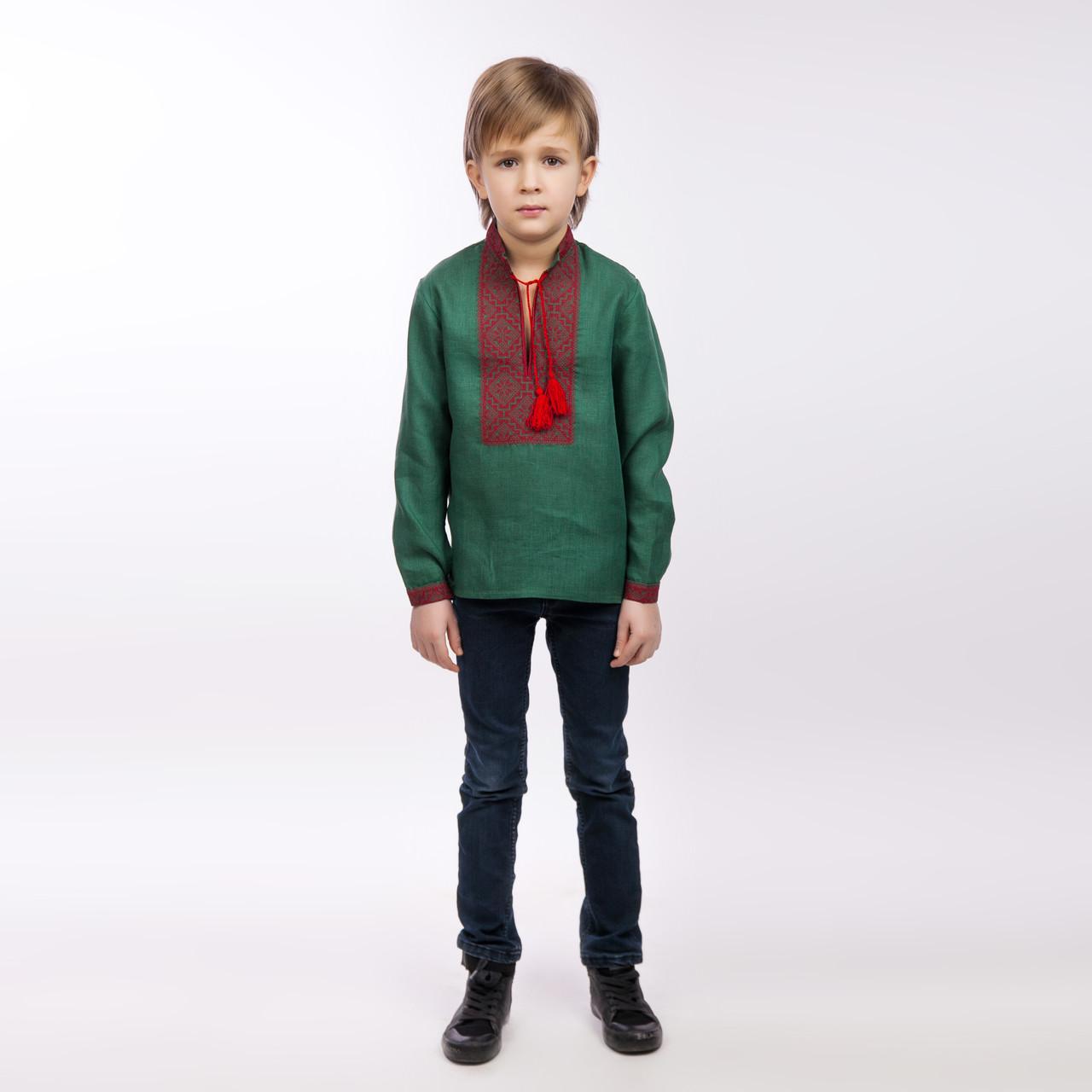 Вышиванка для мальчика, изумруд - фото 1