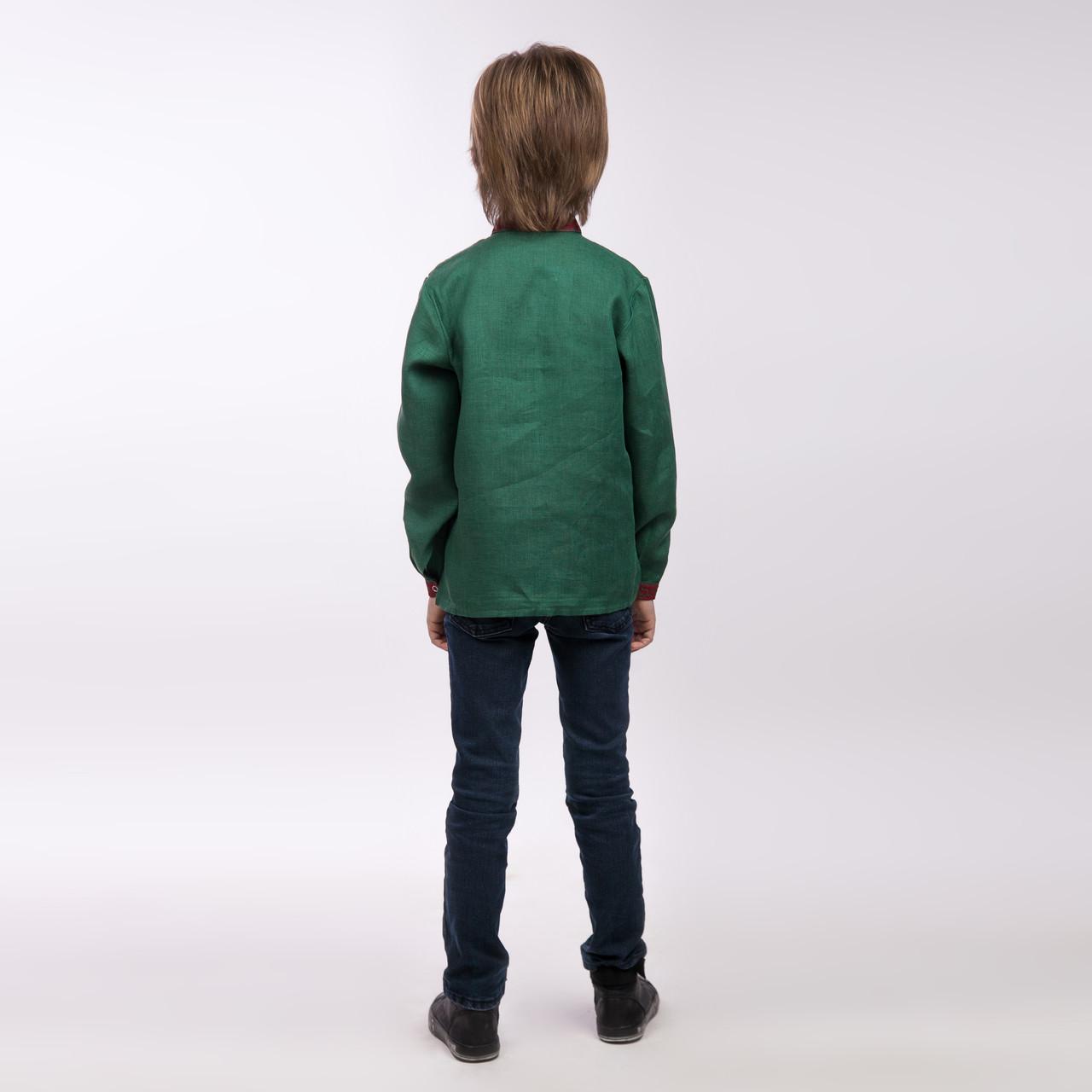Вышиванка для мальчика, изумруд - фото 3