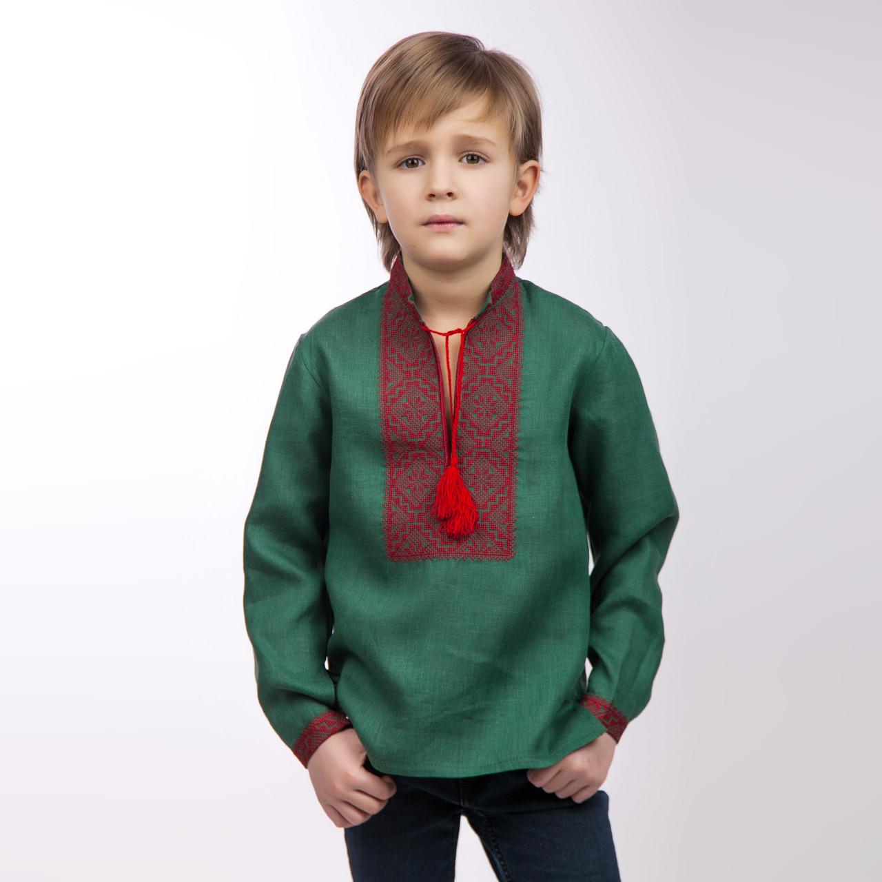 Вышиванка для мальчика, изумруд - фото 2