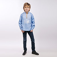 Вышиванка для мальчика, светлый джинс