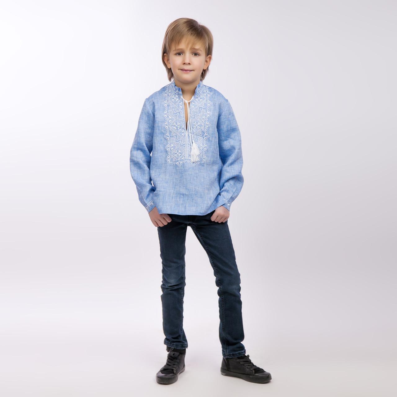 Вышиванка для мальчика, светлый джинс - фото 1