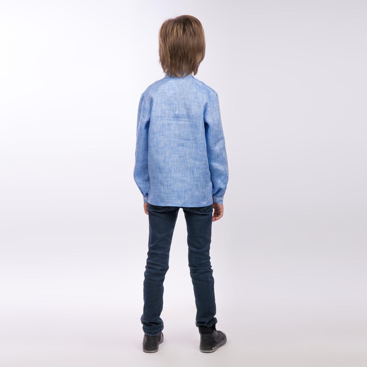 Вышиванка для мальчика, светлый джинс - фото 2