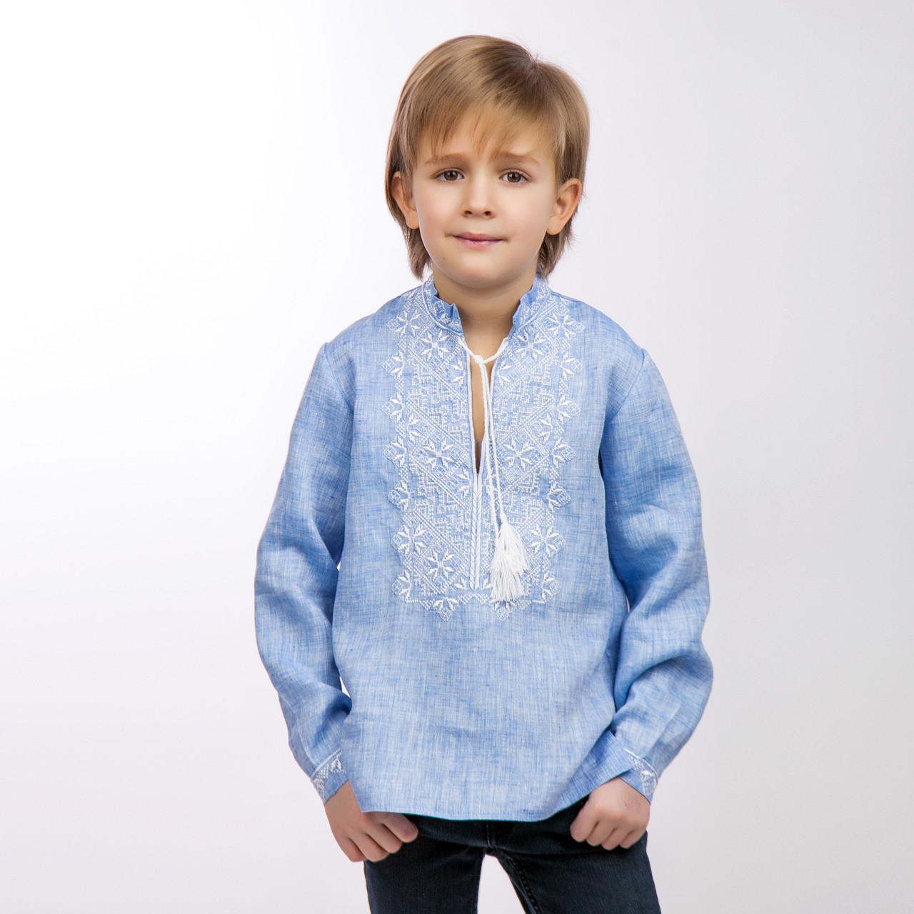 Вышиванка для мальчика, светлый джинс - фото 3