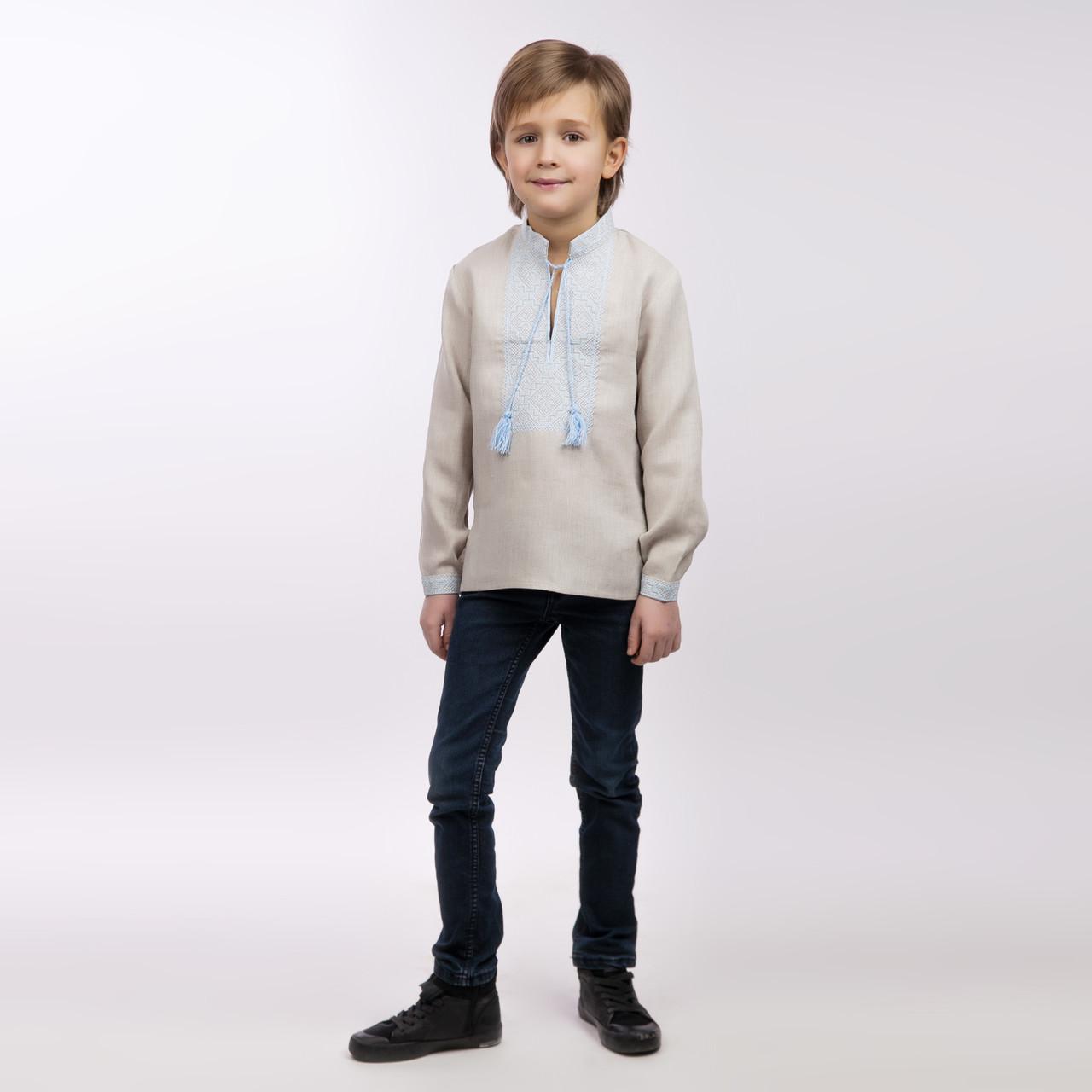 Вышиванка для мальчика, беж лен - фото 1