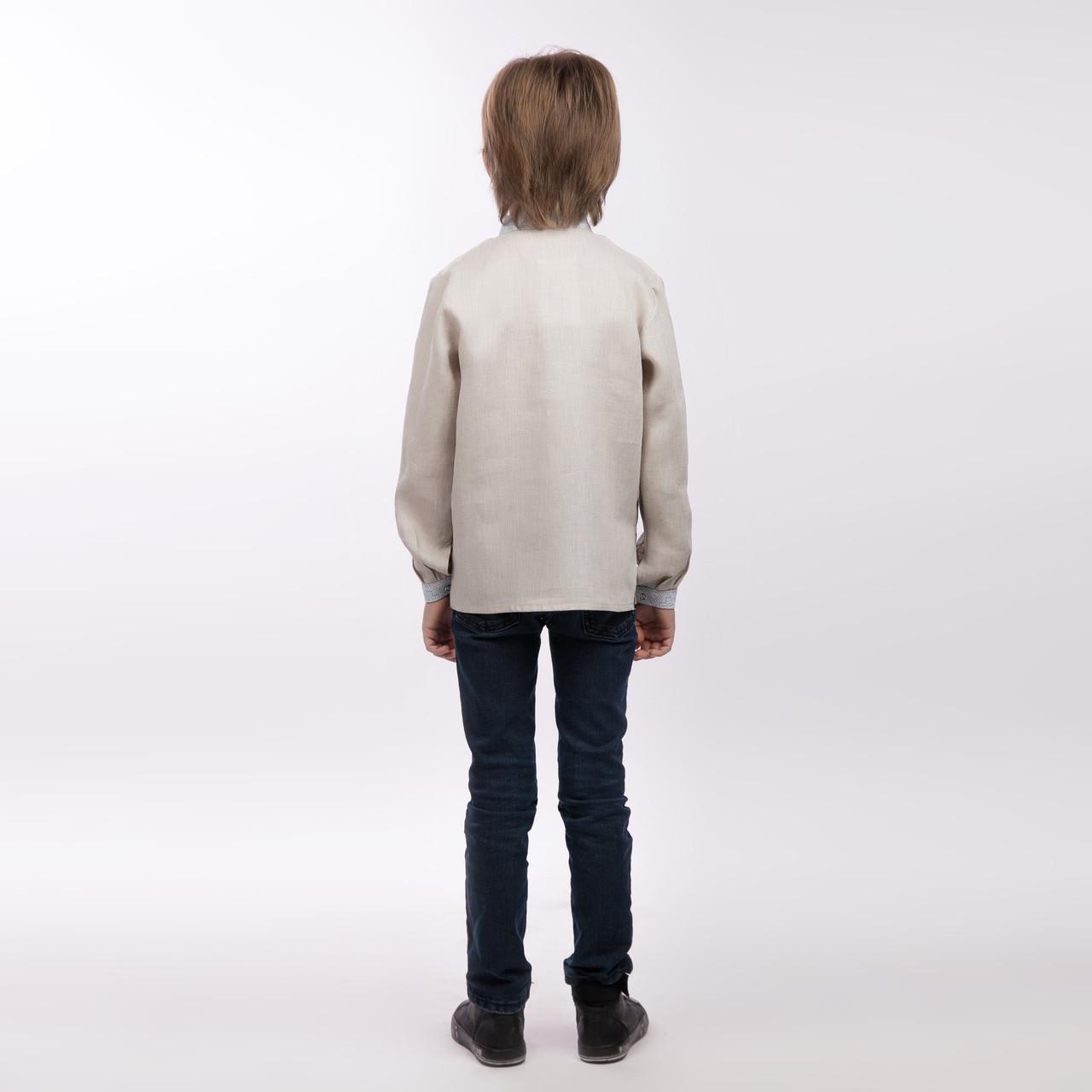 Вышиванка для мальчика, беж лен - фото 2