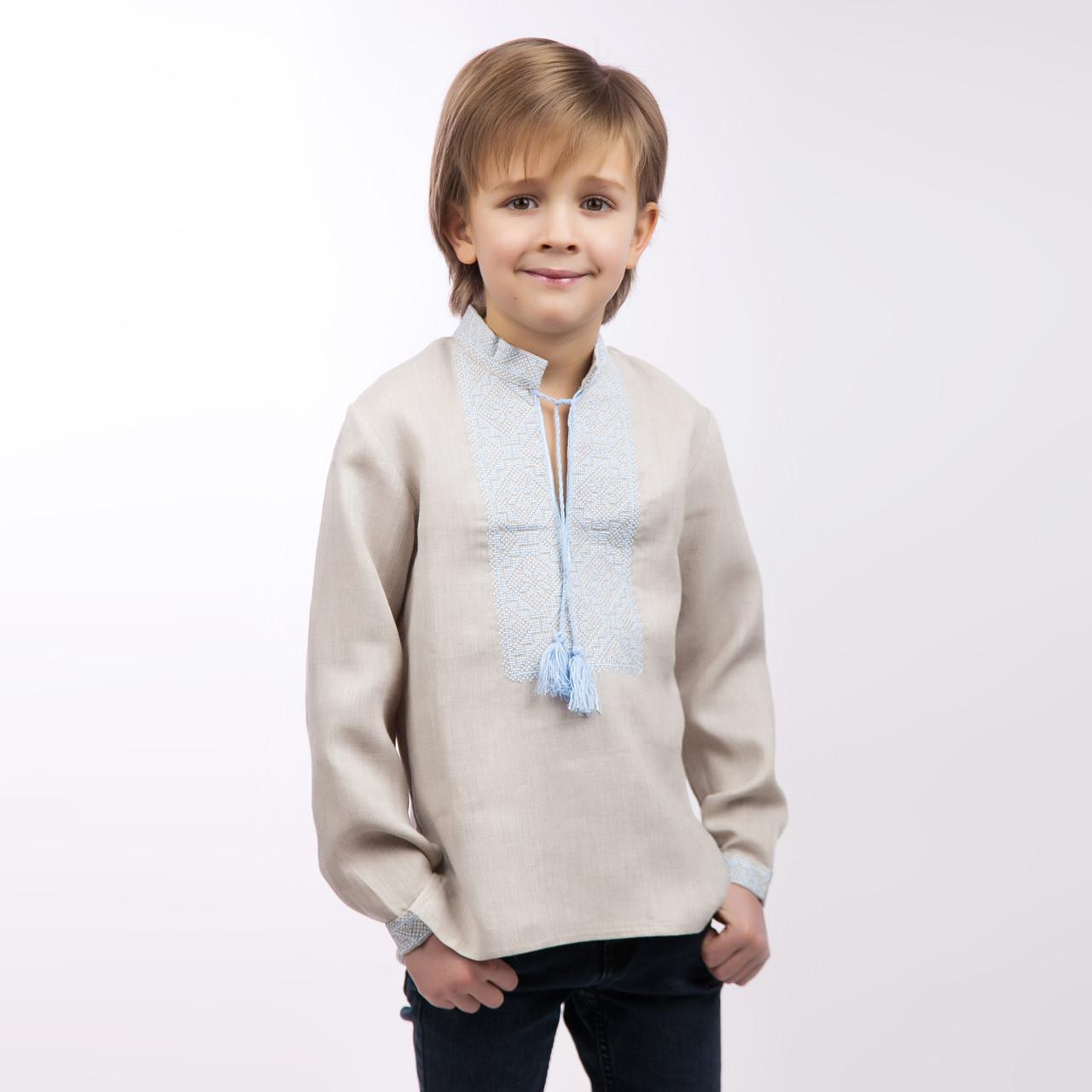 Вышиванка для мальчика, беж лен - фото 3