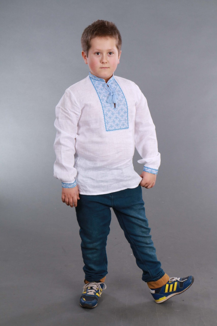 Вышиванка для мальчика 2004, голубая вышивка - фото 1