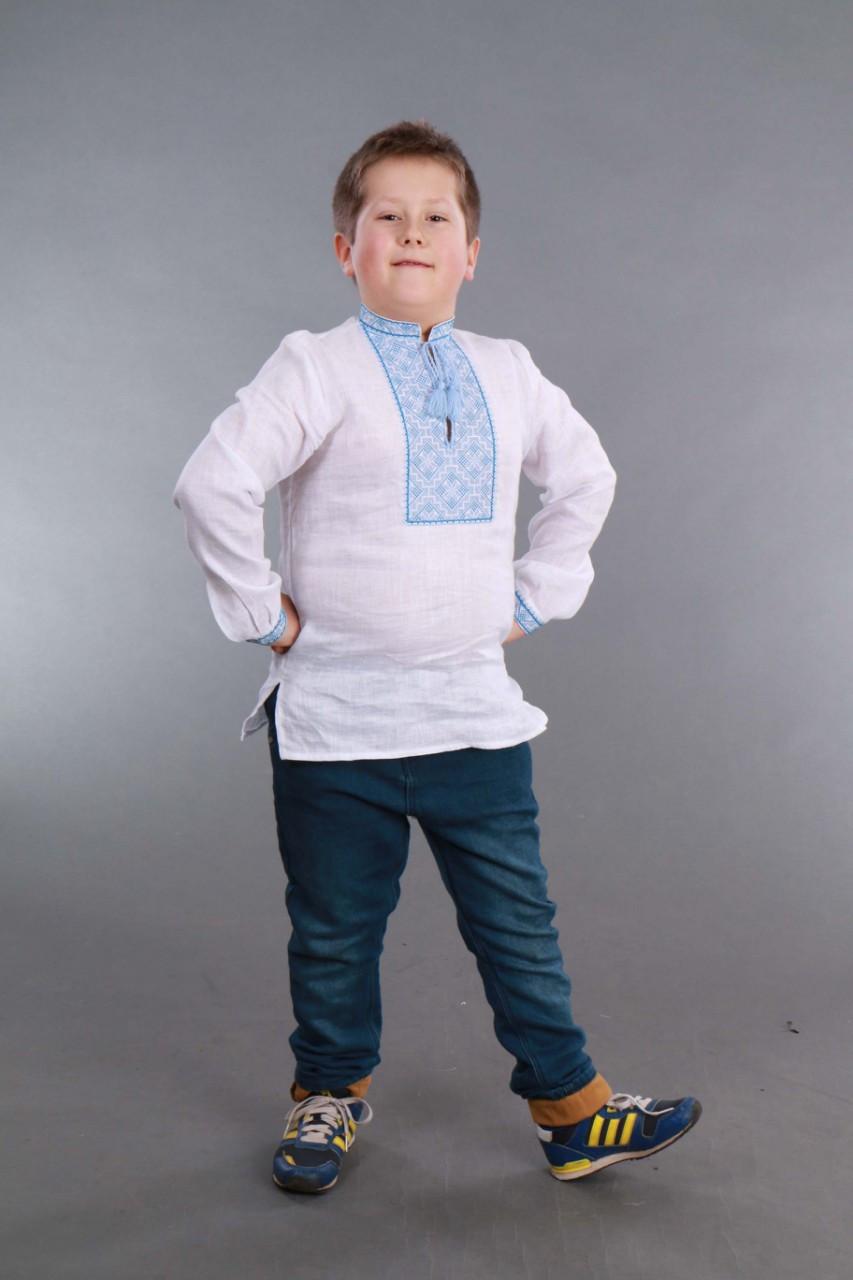 Вышиванка для мальчика 2004, голубая вышивка - фото 2