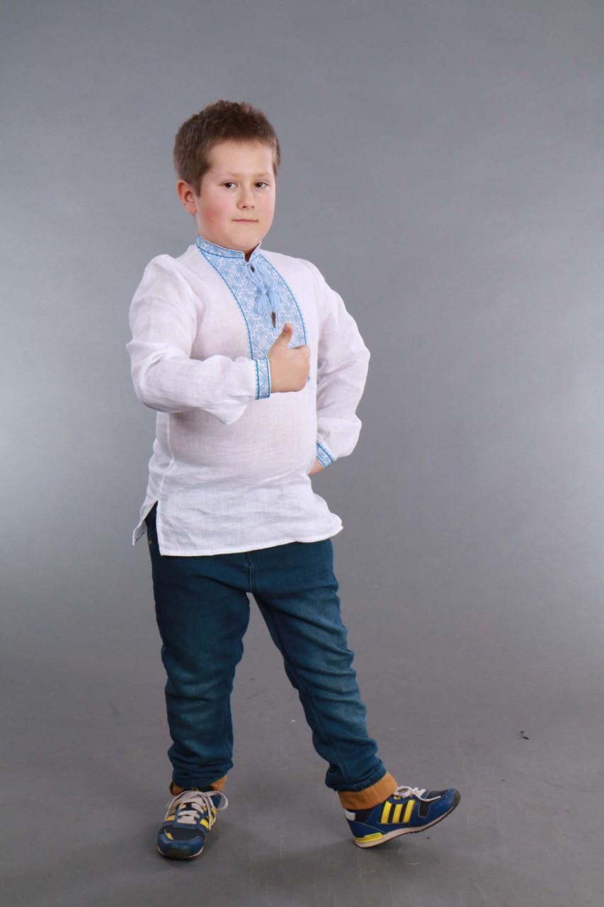 Вышиванка для мальчика 2004, голубая вышивка - фото 4