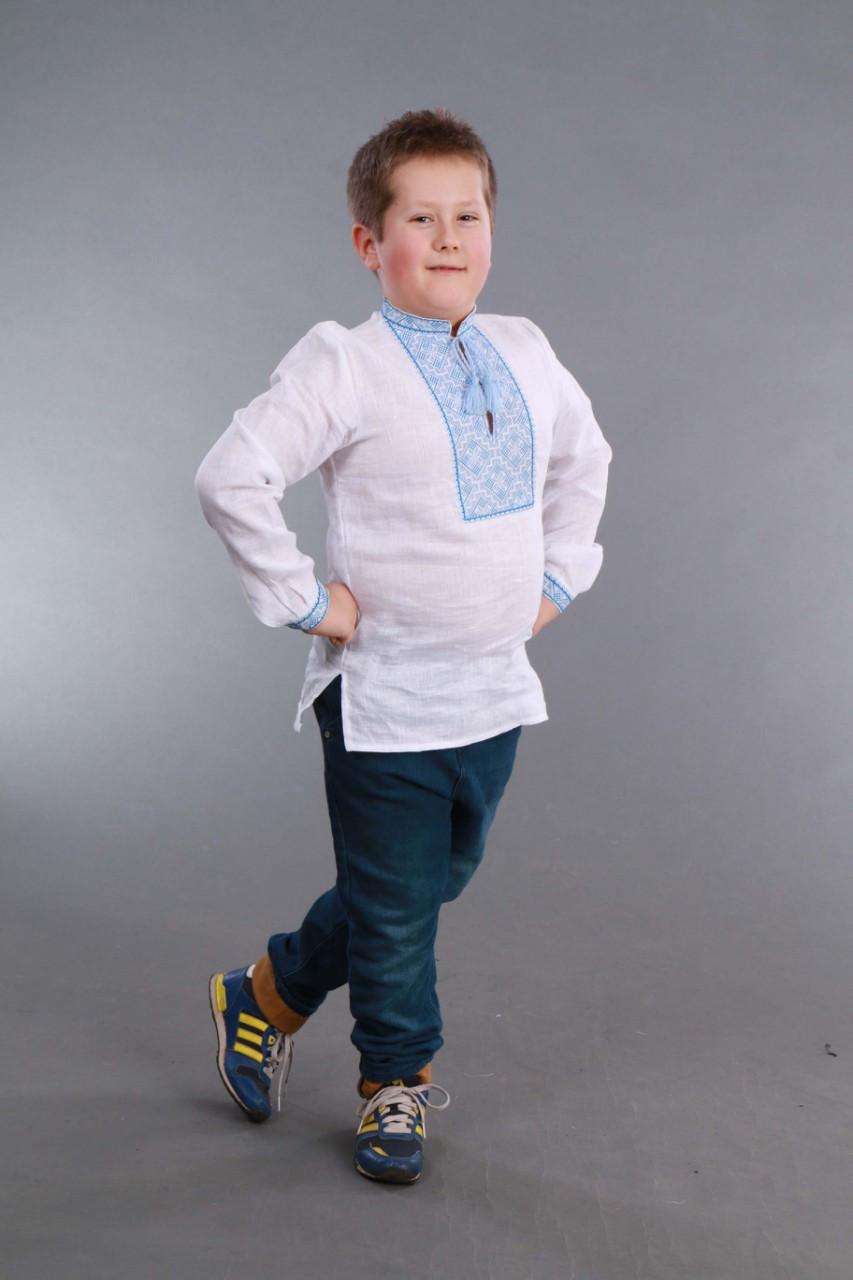 Вышиванка для мальчика 2004, голубая вышивка - фото 10