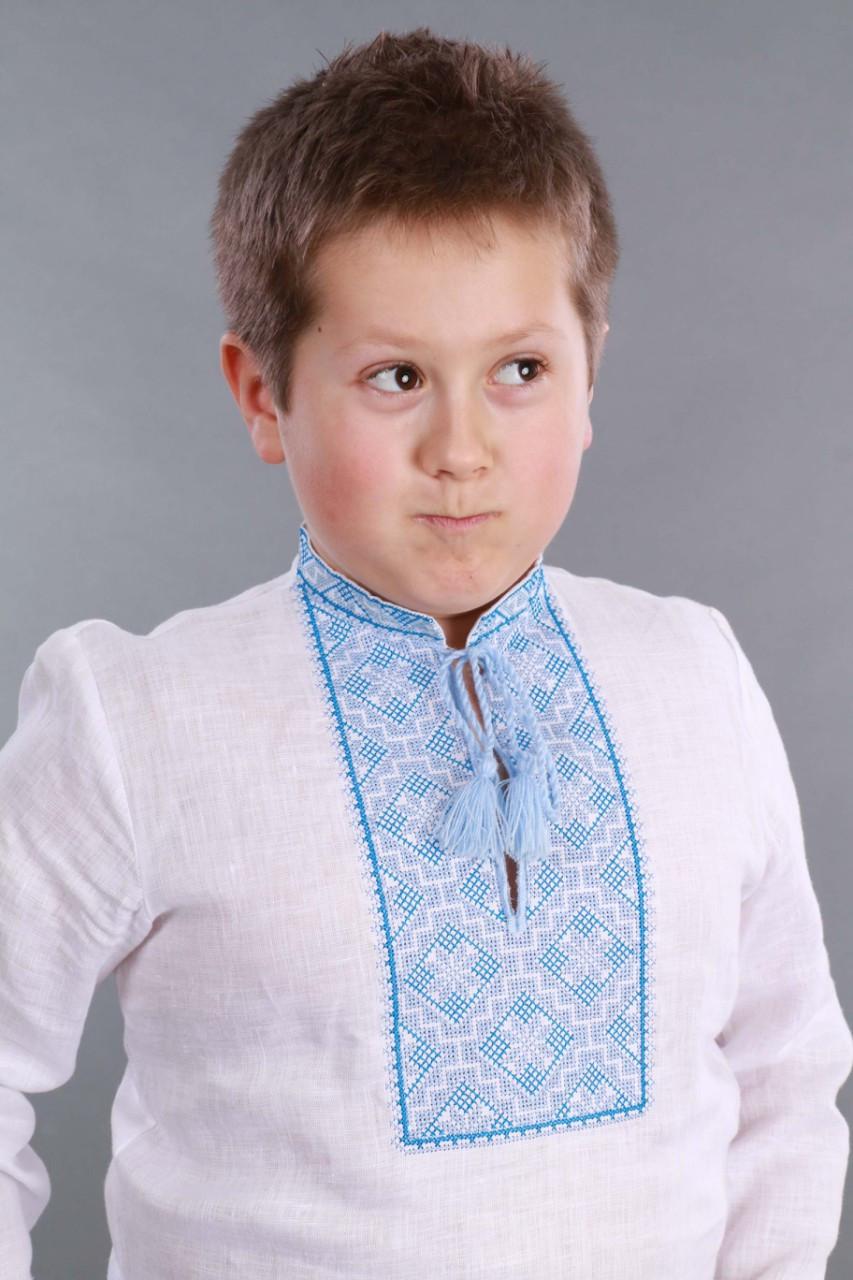 Вышиванка для мальчика 2004, голубая вышивка - фото 5