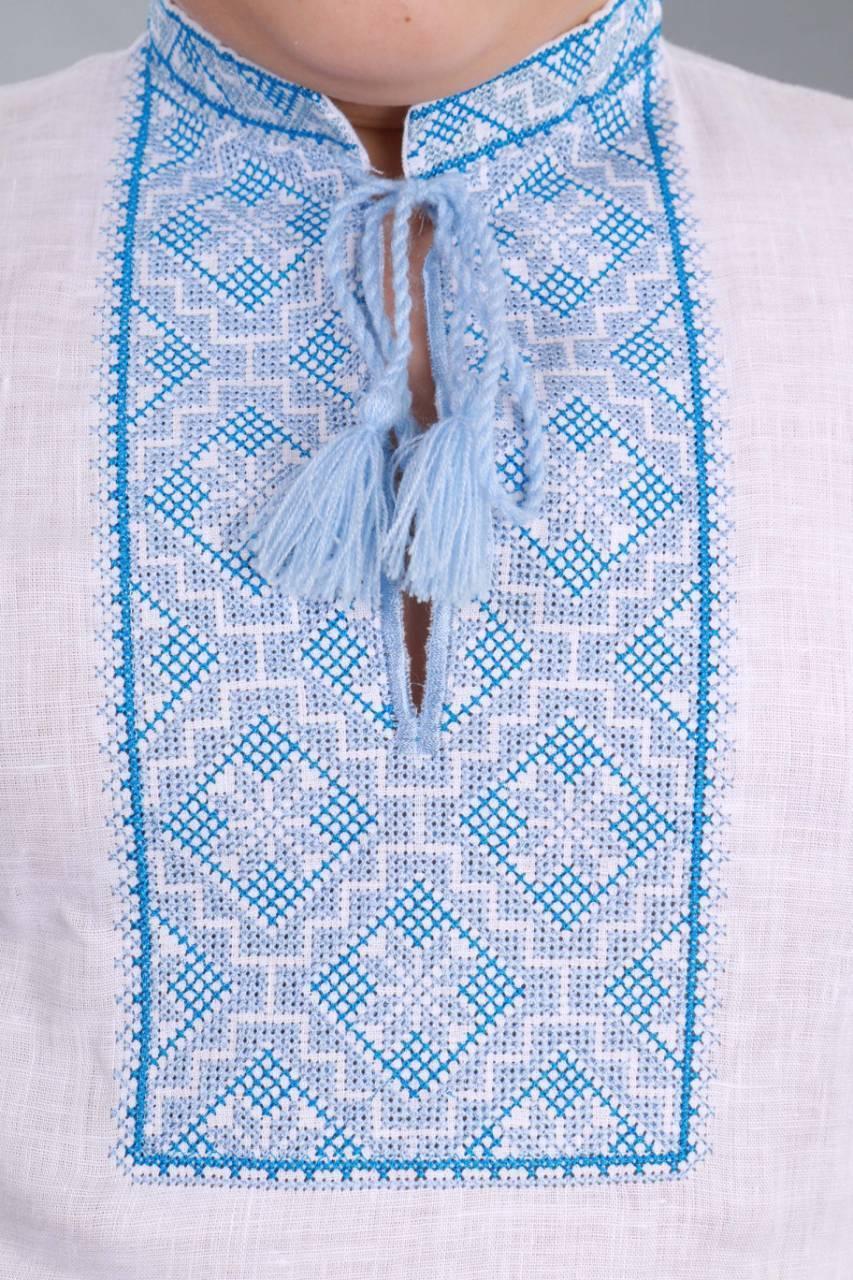 Вышиванка для мальчика 2004, голубая вышивка - фото 6