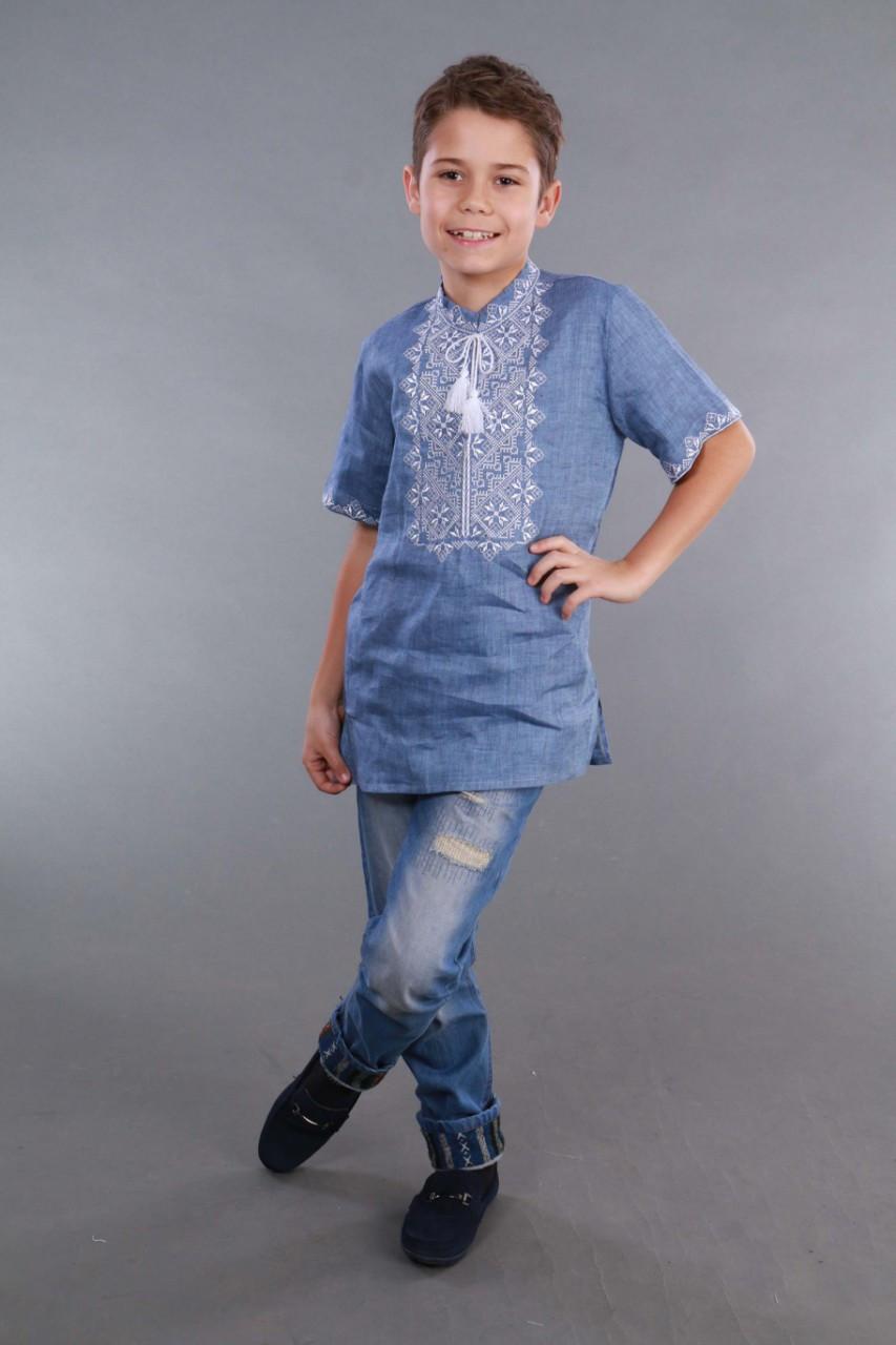Вышиванка для мальчика 2004, белая вышивка, лен джинс - фото 1