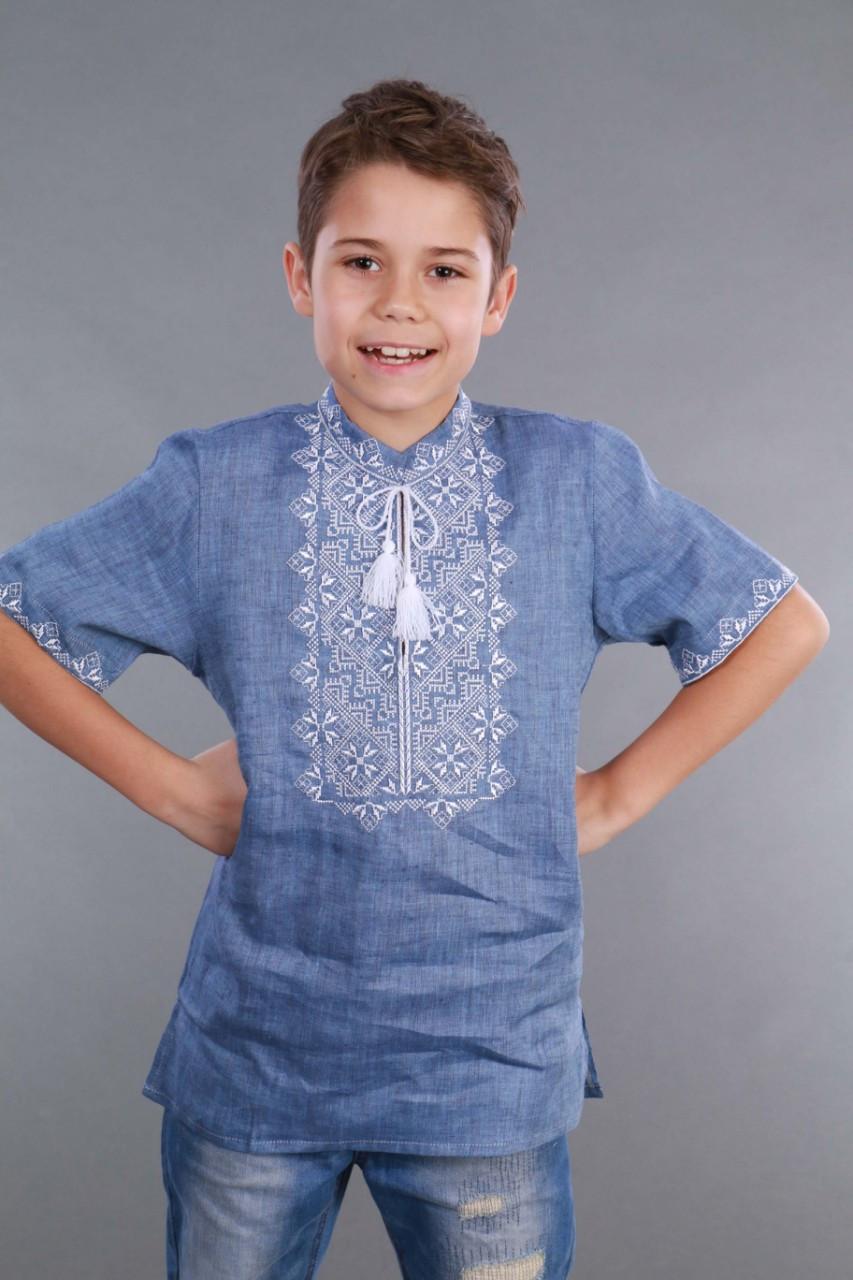Вышиванка для мальчика 2004, белая вышивка, лен джинс - фото 3