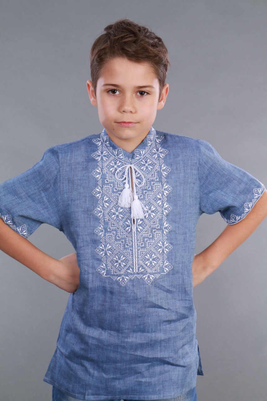 Вышиванка для мальчика 2004, белая вышивка, лен джинс - фото 4