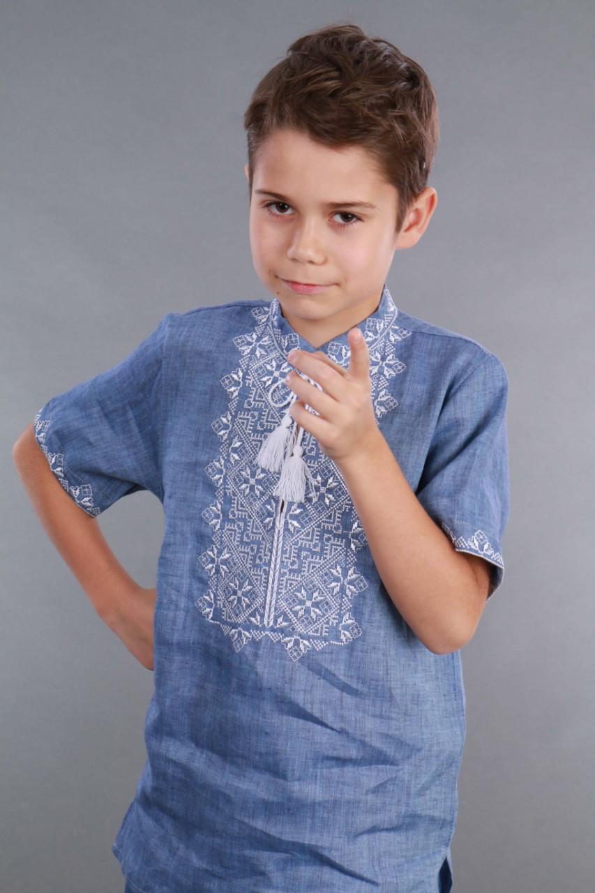 Вышиванка для мальчика 2004, белая вышивка, лен джинс - фото 5
