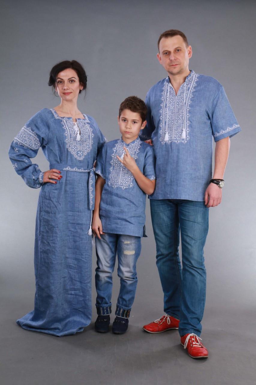 Вышиванка для мальчика 2004, белая вышивка, лен джинс - фото 6