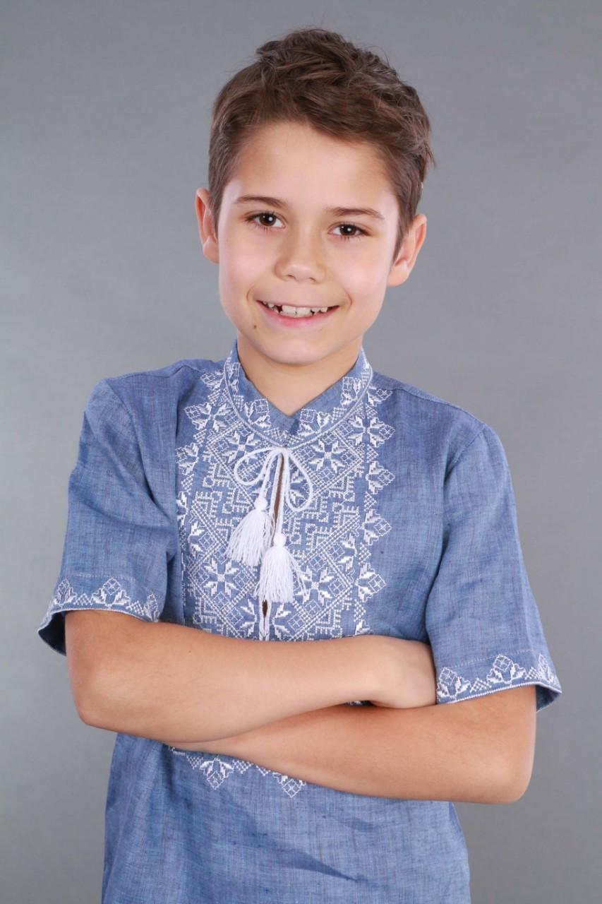 Вышиванка для мальчика 2004, белая вышивка, лен джинс - фото 7