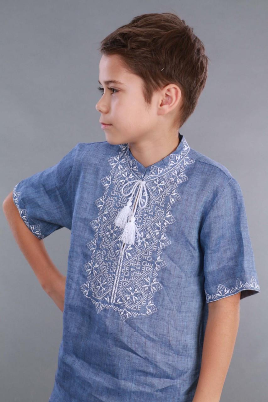 Вышиванка для мальчика 2004, белая вышивка, лен джинс - фото 8
