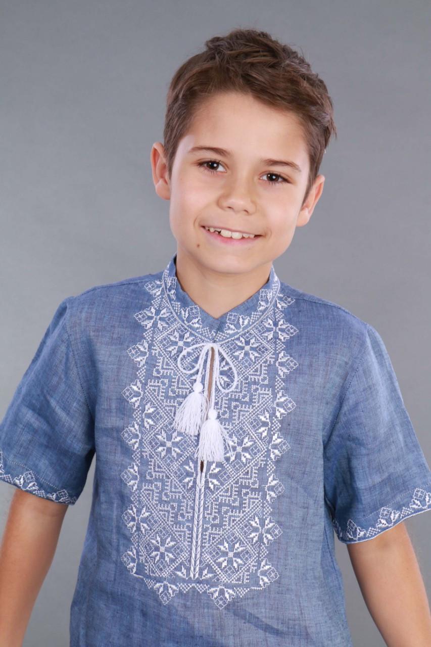 Вышиванка для мальчика 2004, белая вышивка, лен джинс - фото 9
