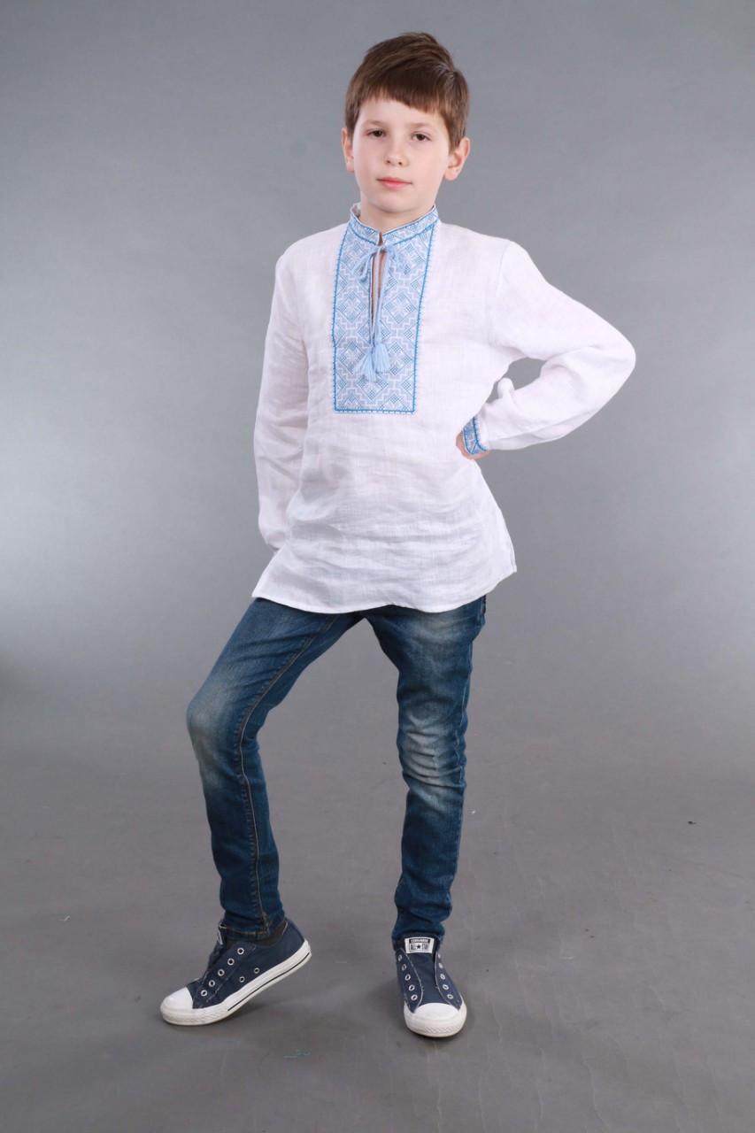Вышиванка для мальчика 2004, голубая вышивка - фото 7